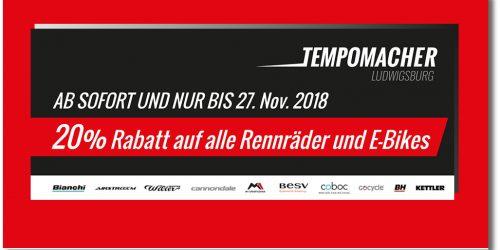 20% RABATT auf alle Rennräder und E-Bikes, bis 27. November!