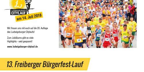 20. Ludwigsburger Citylauf & 13. Freiberger Bürgerlauf 2018!